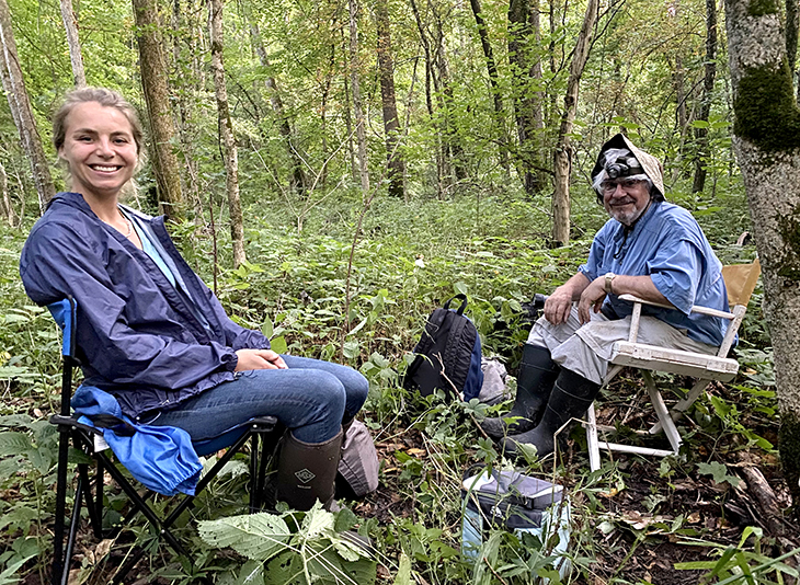 Jenna Odegard, left, and Tony DiNovo, right, at one of Lewis's mist-net sites in Ashley, Ohio. Both have participated in bat acoustic surveys for the ODNR, contributing to valuable data that helps researchers key in on bat abundance and distribution.